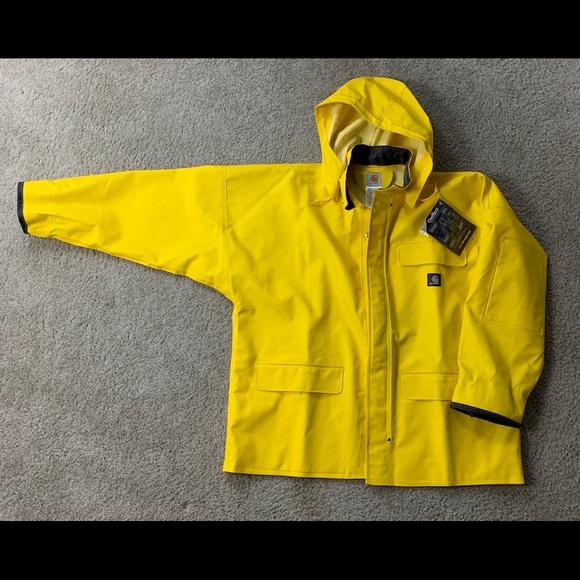 5a4213f87 Carhartt Jackets & Coats | C64 Ylw Yellow Pvc Raincoat Jacket Sz L ...